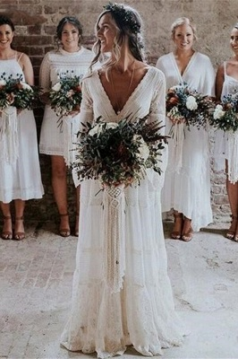 Chic Empire Lace Tulle Wedding Dress   Long Sleeves V-Neck Appliques Bridal Gowns_1