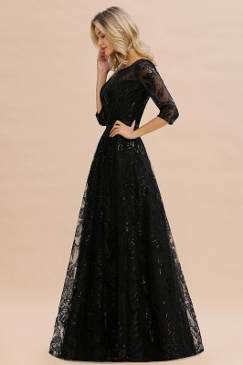 Sexy Black 3/4 Sleeves Sequins Prom Dress | Long Evening Gowns_6