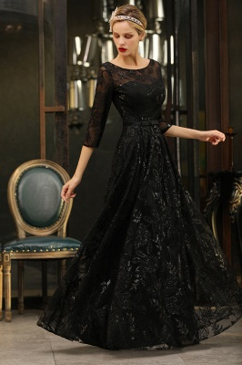 Sexy Black 3/4 Sleeves Sequins Prom Dress | Long Evening Gowns_8