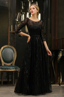 Sexy Black 3/4 Sleeves Sequins Prom Dress | Long Evening Gowns_16