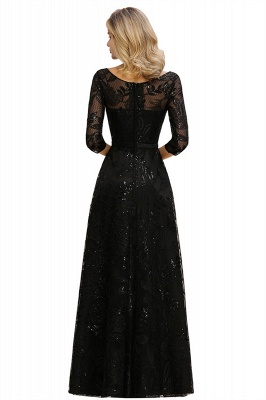 Sexy Black 3/4 Sleeves Sequins Prom Dress | Long Evening Gowns_15