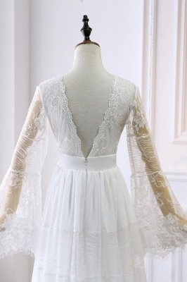 Chic Empire Lace Tulle Wedding Dress   Long Sleeves V-Neck Appliques Bridal Gowns_5