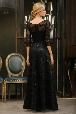 Sexy Black 3/4 Sleeves Sequins Prom Dress | Long Evening Gowns_12