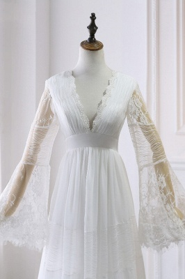 Chic Empire Lace Tulle Wedding Dress   Long Sleeves V-Neck Appliques Bridal Gowns_4