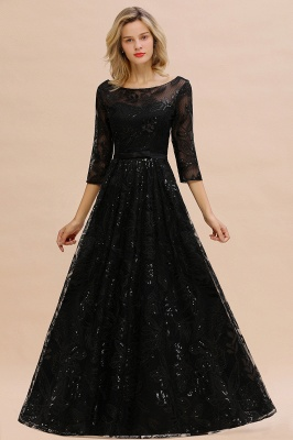 Sexy Black 3/4 Sleeves Sequins Prom Dress | Long Evening Gowns_5