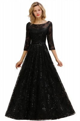 Sexy Black 3/4 Sleeves Sequins Prom Dress | Long Evening Gowns_11