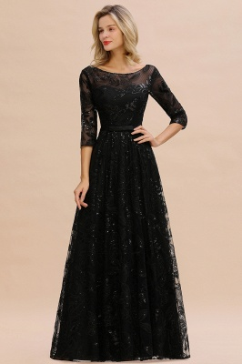 Sexy Black 3/4 Sleeves Sequins Prom Dress | Long Evening Gowns_2