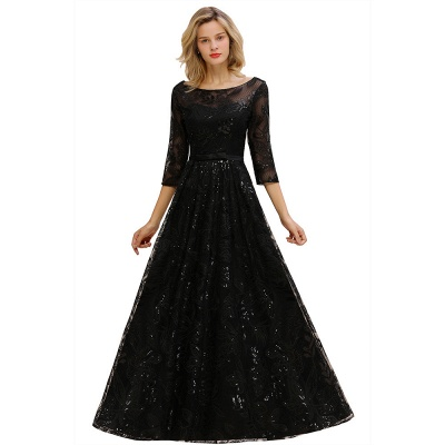 Sexy Black 3/4 Sleeves Sequins Prom Dress | Long Evening Gowns_1