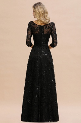 Sexy Black 3/4 Sleeves Sequins Prom Dress | Long Evening Gowns_4