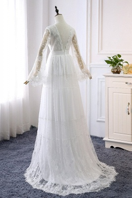 Chic Empire Lace Tulle Wedding Dress | Long Sleeves V-Neck Appliques Bridal Gowns_3