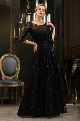Sexy Black 3/4 Sleeves Sequins Prom Dress | Long Evening Gowns_9