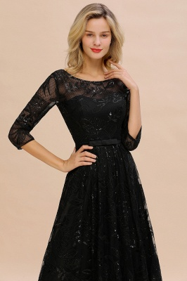 Sexy Black 3/4 Sleeves Sequins Prom Dress | Long Evening Gowns_3