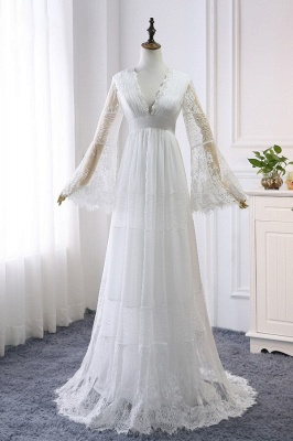 Chic Empire Lace Tulle Wedding Dress   Long Sleeves V-Neck Appliques Bridal Gowns_2