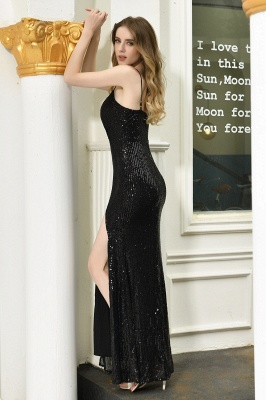 Sparkly Black Sequins Spaghetti Straps V-Neck Affordable Prom Dress_11