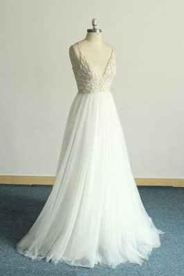 Gorgeous A-line White Lace Tulle Wedding Dress | Sleeveless Appliques Bridal Gowns_4