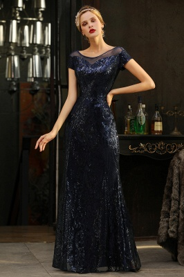 Navy Short Sleeve Sequins Prom Dress | Mermaid Long Evening Gowns_7