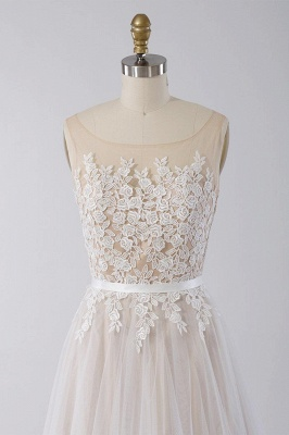 Affordable Sleeveless Jewel Appliques Wedding Dress | Tulle Ruffles A-line Bridal Gowns_4