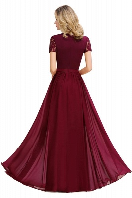 Chic A-line Chiffon Lace Bridesmaid Dress with Short Sleeves On Sale_5