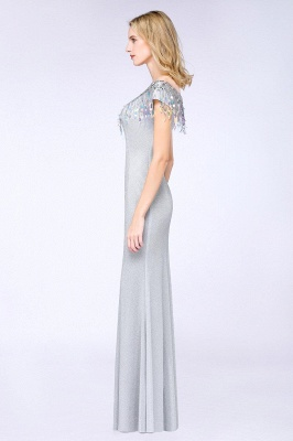 Elegant Jewel Short Sleeves Sequins Evening Dress with Tassels in Stock_5
