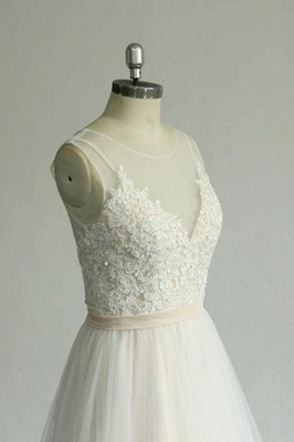 Chic Straps Sleeveless Appliques Wedding Dress | A-line Tulle White Bridal Gowns_6