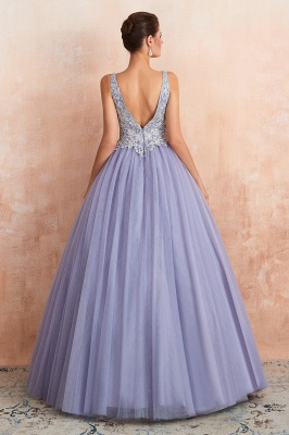 Gorgeous Lavender Lace Prom Dress | V-Neck Ball Gown Tulle Formal Wears_6