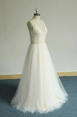 Chic Straps Sleeveless Appliques Wedding Dress | A-line Tulle White Bridal Gowns_4