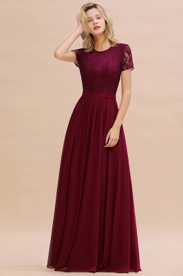 Chic A-line Chiffon Lace Bridesmaid Dress with Short Sleeves On Sale_2