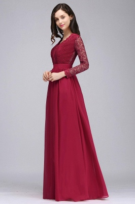 Elegant A-line Chiffon Lace Long Sleeves Evening Dress in Stock_6