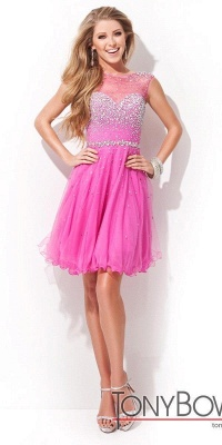 Open Back Sleeveless Chiffon Homecoming Dress Crystal Beads Tulle Short Prom Dress On Sale_3
