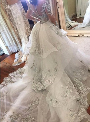 Glamorous Long Sleeves Tulle High Neck 2020 Bride Dresses Appliques Wedding Dresses with Detachable Overskirt qq0375_5