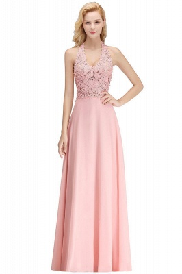 A-line Halter Chiffon Lace Bridesmaid Dress with Beadings On Sale_1