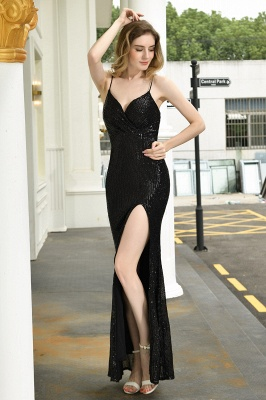 Sparkly Black Sequins Spaghetti Straps V-Neck Affordable Prom Dress_10