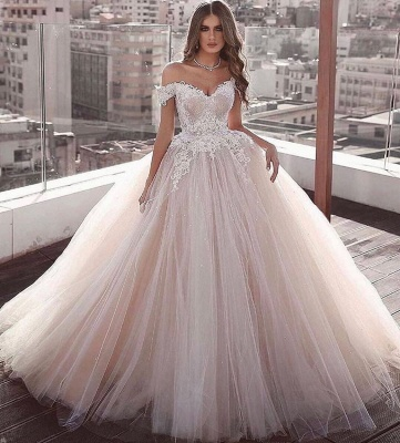 Off The Shoulder Tulle Ball Gown Wedding Dresses | Lace Appliques Champagne Pink Bridal Gowns_2