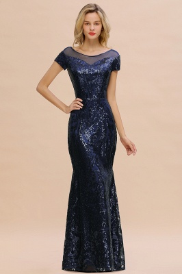 Navy Short Sleeve Sequins Prom Dress | Mermaid Long Evening Gowns_13