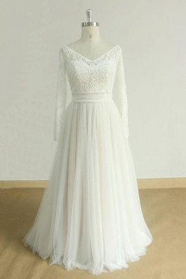 Chic Sweetheart Lace Wedding Dress | White Tulle Ruffles Bridal Gowns_4