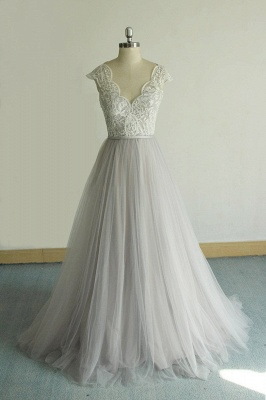 Unique V-neck Appliques Tulle Wedding Dress | Ruffles Shortsleeves A-line Bridal Gowns_1