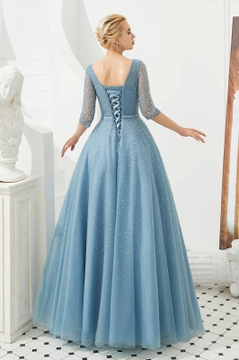 Dusty Blue V-Neck Half-Sleeve Prom Dress Long With Beadings Lace-up_8