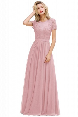 Chic A-line Chiffon Lace Bridesmaid Dress with Short Sleeves On Sale_7