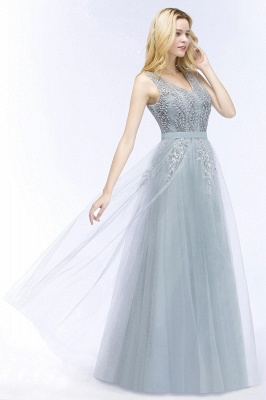 Stylish V-neck Tulle Lace Long Evening Dress in Stock_5
