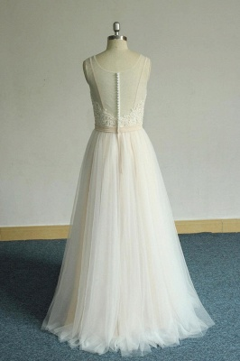 Chic Straps Sleeveless Appliques Wedding Dress | A-line Tulle White Bridal Gowns_3