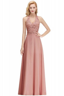 A-line Halter Chiffon Lace Bridesmaid Dress with Beadings On Sale_15