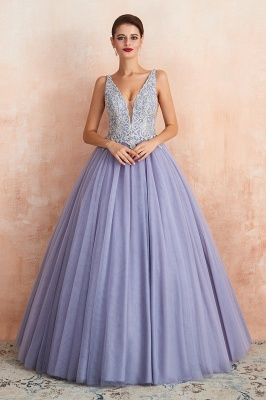 Gorgeous Lavender Lace Prom Dress | V-Neck Ball Gown Tulle Formal Wears_2