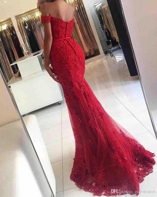 Glamorous Mermaid Lace Prom Dress 2020 Off-the-shoulder Red Appliques Evening Dress_6