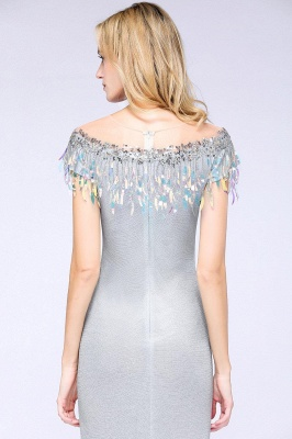 Elegant Jewel Short Sleeves Sequins Evening Dress with Tassels in Stock_7