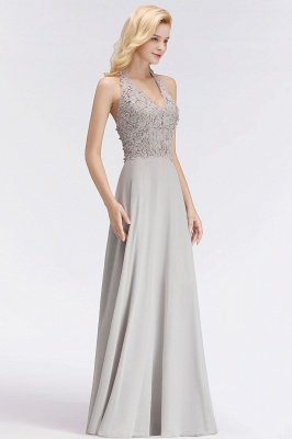 A-line Halter Chiffon Lace Bridesmaid Dress with Beadings On Sale_9