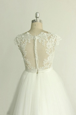 Stylish White Tulle Lace Wedding Dress | Appliques A-line Ruffles Bridal Gowns_5