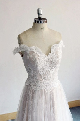 Gorgeous Off-the-shoulder Sweetheart Appliques Wedding Dress | A-line Lace Ruffles Bridal Gowns_4