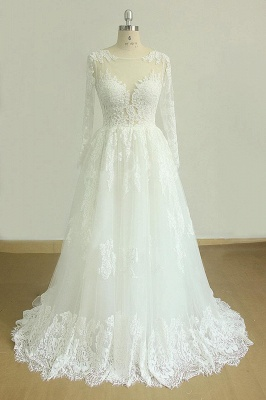Gorgeous Longsleeves White Appliques Wedding Dress | Tulle Lace Jewel Bridal Gown