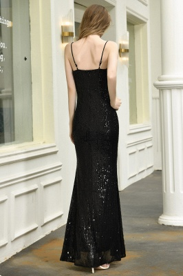 Sparkly Black Sequins Spaghetti Straps V-Neck Affordable Prom Dress_4