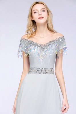A-line Jewel Short Sleeves Sequins Evening Dress with Tassels in Stock_6